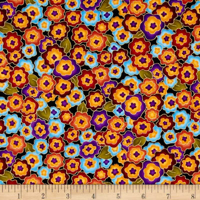 Timeless Treasures Metallic Intrigue Packed Floral Multi