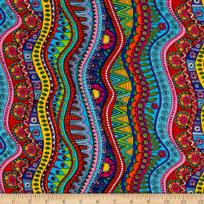 Timeless Treasures Color Me Doodle Stripe Coloring Multi