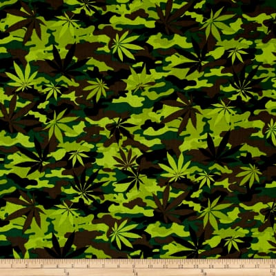 Timeless Treasures Cannabis Leaf Camo Green