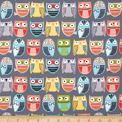 Timeless Treasures Walk In The Woods Owls In Rows Grey