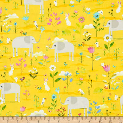 Timeless Treasures Elephant Showers Elephant Flower Garden Yellow