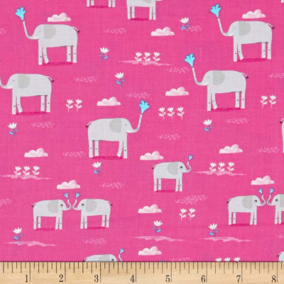 Timeless Treasures Elephant Showers Elephants Pink