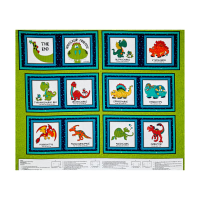 "I Love You This Much Dino Book 35.5"" Panel Green"