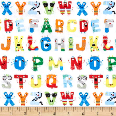 Zoo Mates Flannel Alphabet Faces White/Multi