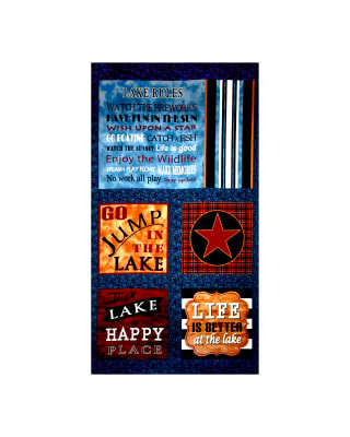 "Better At The Lake Pillow 24"" Panel Blue"
