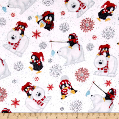 Arctic Antics Flannel Tossed Polar Bears White