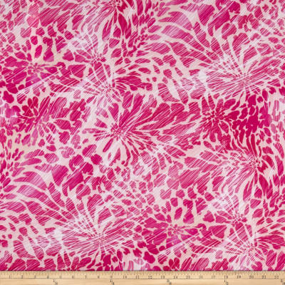 Stretch ITY Knit Floral Print Fuschia
