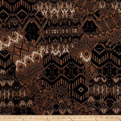 Stretch ITY Knit Abstract Mosaic Tan Black