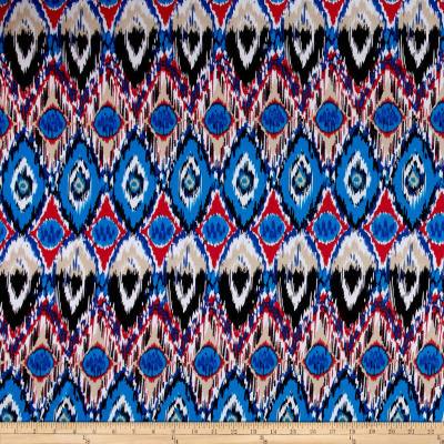 Stretch ITY Knit Bohemian Print Royal Blue