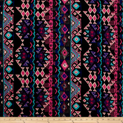 Stretch ITY Knit Aztec Royal Blue Hot Pink