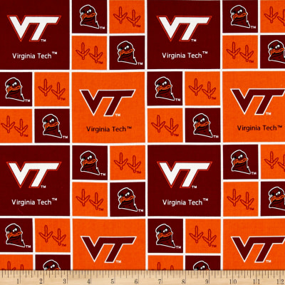 Collegiate Cotton Broadcloth Virginia Tech Hokies Blocks