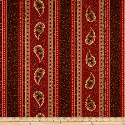 Provence Flannel Paisley Stripe Red Multi