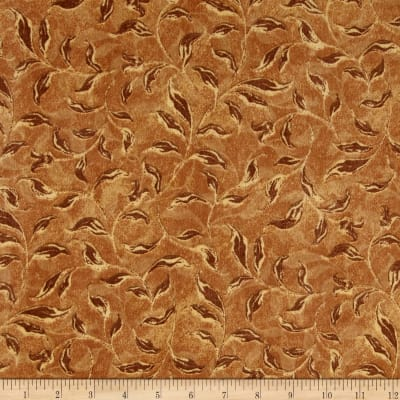 Velvet Blossoms Flannel Leaves Brown