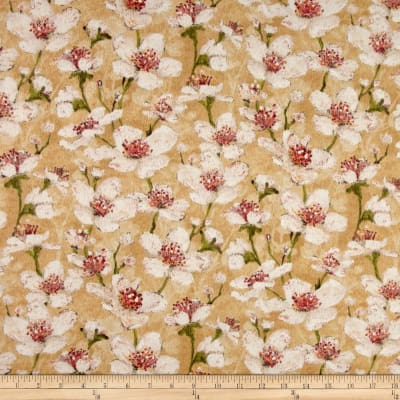 Velvet Blossoms Flannel Floral Tan