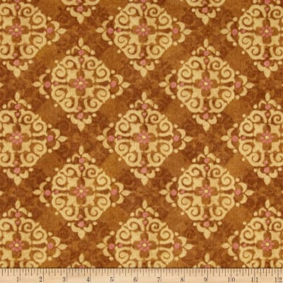 Velvet Blossoms Flannel Medallions Brown
