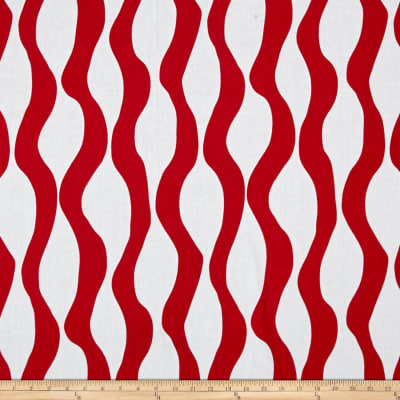 Poppy Meadow Curvy Stripe Red White