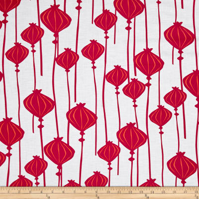 Poppy Meadow Chinese Lantern White Red