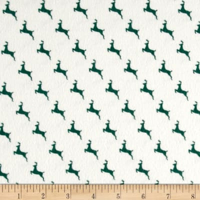 Chalk it up to Winter Flannel Reindeer Cream Green