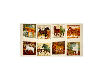 "Unbridled Horse Picture Patches 24"" Panel Cream"