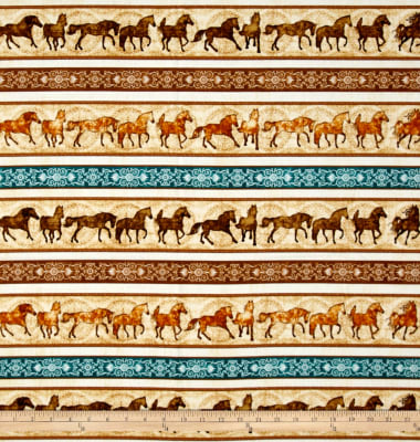 Unbridled Horses Stripe Cream Fabric