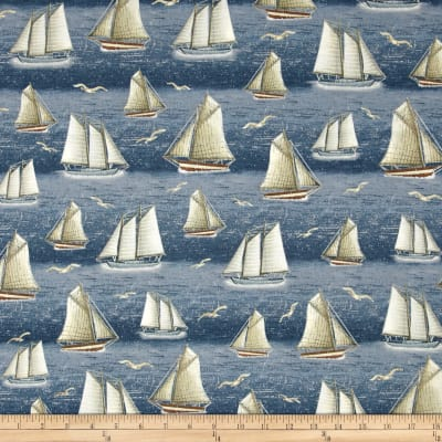 Seaside Sailboats Chambray