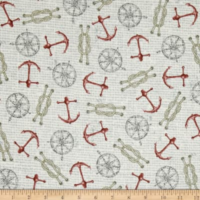 QT Fabrics Seaside Anchors & Ropes Pale Beige