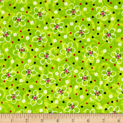 QT Fabrics Pecking Order Stencil Flower Lime