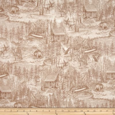 QT Fabrics Into The Woods Scenic Toile Taupe