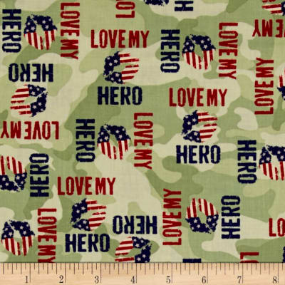 Homefront Girl I Love My Hero Words Light Olive