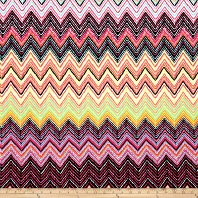 Stretch ITY Jersey Knit Zig Zag Pink Multi Black