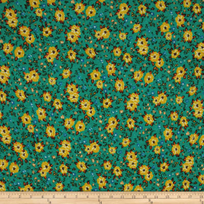 Jersey Knit Ditzy Floral Green