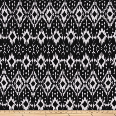 Jersey Knit Abstract Ikat Black White