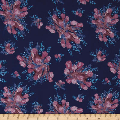 Crepe Floral Navy