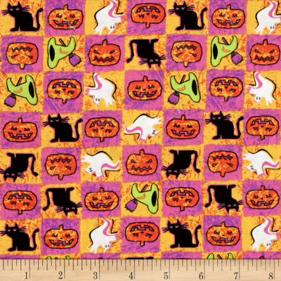 Spooktacular Halloween Patch Pink Yellow