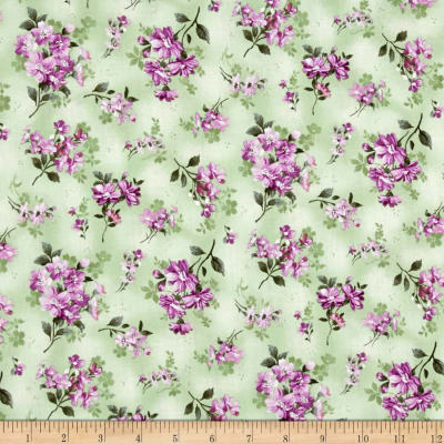 Silhouettes Flowers Metallic Green Purple