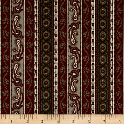 Hint of Print Striped Paisley Maroon/Green/Tan
