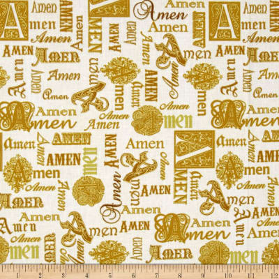 Kanvas Bible Studies Metallic Amen Cream Gold