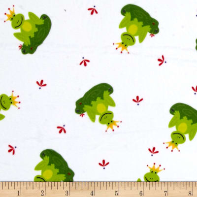 Minky Frogs Prince White Green