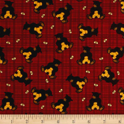 Bear Paws Bear with Honey Plaid Red