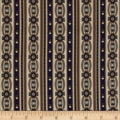 Tavern Collection Wallpaper Stripe Brown/Blue/Tan