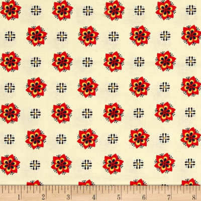 El Camino Real Dots & Flowers Red/Tan