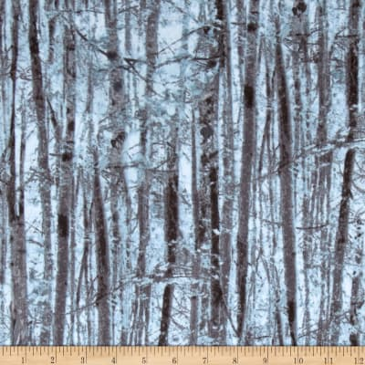 Kanvas Into the Woods Flannel Forest Trees Blue/Gray