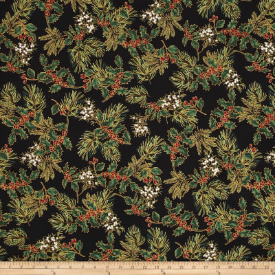 Warm Wishes Metallic Holly and Berries Black/Gold
