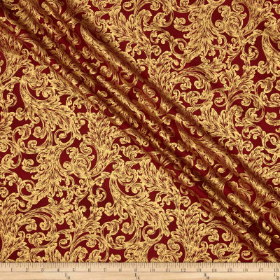 Warm Wishes Metallic Damask Scarlet/Gold