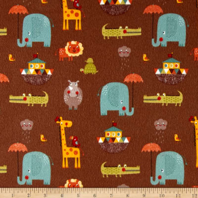 Riley Blake Giraffe Crossing 2 Flannel Main Brown