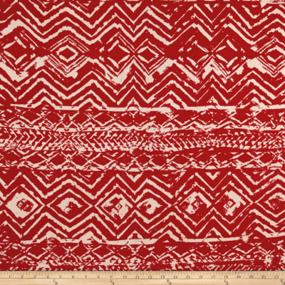 ITY Knit Stretch Crepe Bohemian Print Red/Tan