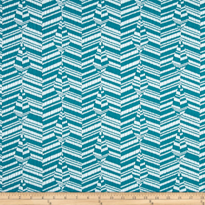 Jacquard Knit Abstract Stripe Pacific Blue