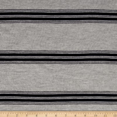 Lightweight Sweater Knit Stripe Grey/Navy