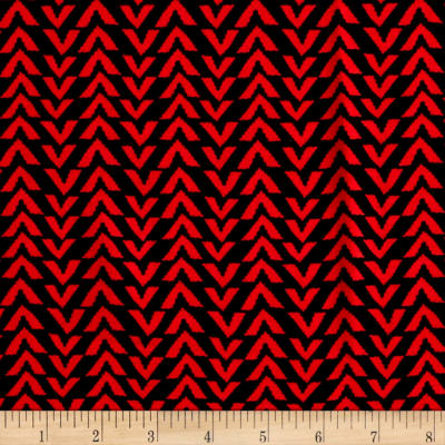 Triangle Stripes Rayon Challis Black/Coral