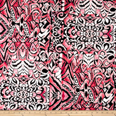 Floral Collage Rayon Lawn Ivory/Pink